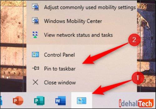 پین کردن Control Panel به Task Bar