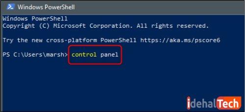 در پنجره باز شده PowerShell، دستور control panel را تایپ کنید