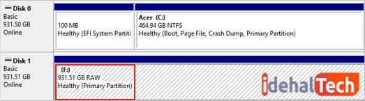 RAW یا unsupported file system در Disk Management