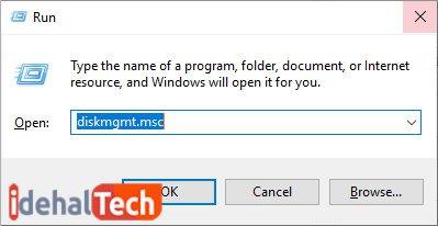 عبارت diskmgmt.msc را بنویسید