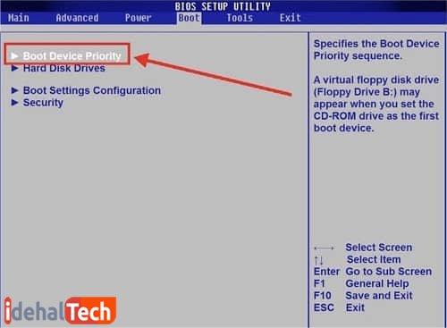 سپس از قسمت «Boot Device Priority» گزینه «USB» را به عنوان اولویت انتخاب کنید