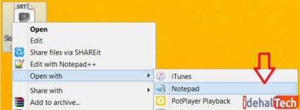 فایل زیرنویس را در برنامه Notepad باز کنید