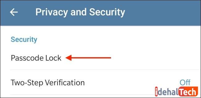 passcode را انتخاب کنید