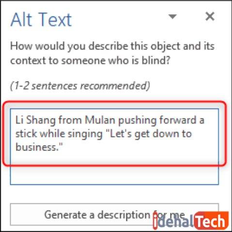 متن مورد نظر را در کادر ALT تایپ کنید