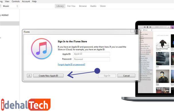 روی ساخت اپل آیدی جدید کلیک کنید